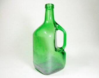 Vintage Yago Green Glass Wine Jug, Demijohn, Vintage Green Glass
