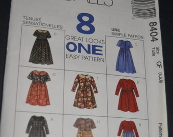 McCalls 8404 Childrens and Girls Dress Sewing Pattern  - UNCUT - 4 5 6