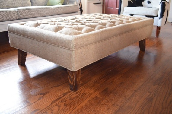Modern Brown Burlap Tufted Ottoman Coffee By Simplyupholstery