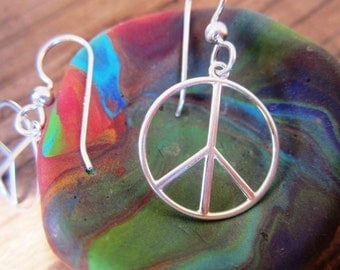 YOLLA Peace Sign/Symbol Earrings - Pure Sterling Silver
