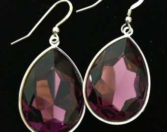 Swarovski Amethyst Crystal Pear Shaped Earrings