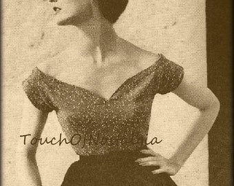Plunge EVENING BLOUSE Vintage Knitting Pattern -  SWEETHEART Plunge Neckline - Off-Shoulder Style  / Absolutely Gorgeous