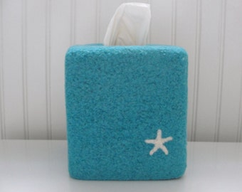 Hand Knit Wool Felted Tissue Box Cover with Needle Felted Starfish Design~Tissue Box Cover~Felt Tissue Box Cover~Wool Felt Tissue Box Cover