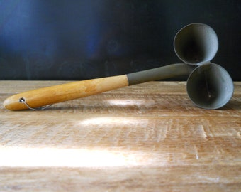 Vintage Wood and Metal Double Funnel Utensil