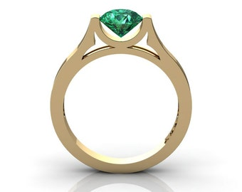 Modern 14K Yellow Gold Designer Wedding Ring or Engagement Ring for Women with 1.0 Ct Emerald Center Stone R665-14KYGEM