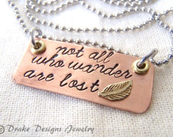 Not all who wander necklace are lost jewelry Inspirational her quote necklace