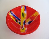 Fused Glass Bowl - Peace Sign - Decorative Bowl - Decorative Dish - Dip Dish - Candy Dish - Red Bowl - Hippie - Boho Decor