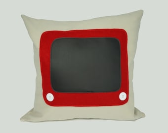 Retro cushion cover, etch-a-sketch chalkboard pillow cover, beige red black