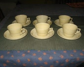 6 Antique Ridgways Bedford Ware Old Ivory Cups & Saucers