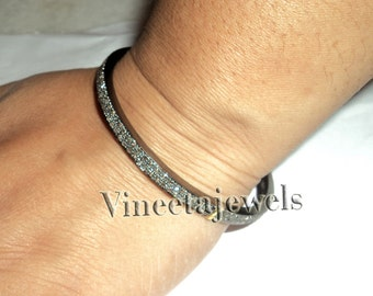 Great Design .925 Sterling Silver 2.85Ctw Rose Cut Diamond Vintage Inspired Cuff Bracelet