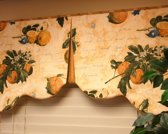 "Custom Valance RENEE Hidden Rod Pocket Valance fits 28""- 40"" window,Scalloped valance made with your fabrics, my LABOR and lining"