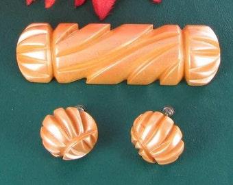 Orange Chevron Shape Bakelite Pierced Earrings vintage Pac Man shape broach