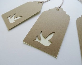 Dove Wedding Wish Tags, Kraft Card Stock Dove Cut Outs, Die Cuts, Dove Gift Tags, Brown Bag Kraft Paper Tags, Set of 10