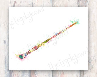 Harry Potter Wand Print, 8x10, Watercolor, Splatter Print, Digital Art, Fine Art, Magic, Geekery, Fandom, Fangirl, Gift