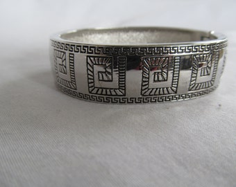 Hinged Silver Bangle Bracelet Greek Key