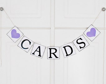 FREE SHIPPING, Cards banner, Bridal shower banner, Wedding banner, Engagement party decoration, Photo prop, Bachelorette party decor, Purple