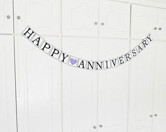 FREE SHIPPING, Happy Anniversary banner, Wedding banner, Any occasion banner, Wedding anniversary celebration, Wedding garland, Purple heart