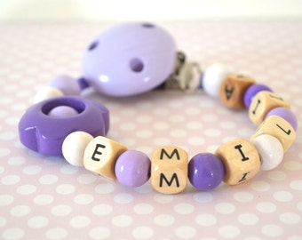 Pacifier clip, purple pacifier clip, personalized name pacifier clip, beaded pacifier clip, pacifier holder, girl pacifier clip