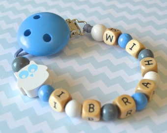 Pacifier clip, blue pacifier clip, personalized name pacifier clip, beaded pacifier clip, pacifier holder, boy pacifier clip, owl nursery