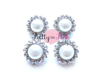 WHITE Rhinestone Pearl Button- You Choose Quantity- Pearl Center Button- Button- Baby Headband- DIY Headband- Pearl Embellishment