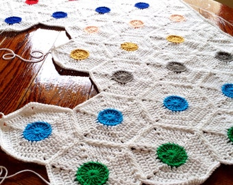 Pattern - BabyLove Brand Polka Dot Blanket - Crochet Pattern/Tutorial -  throw