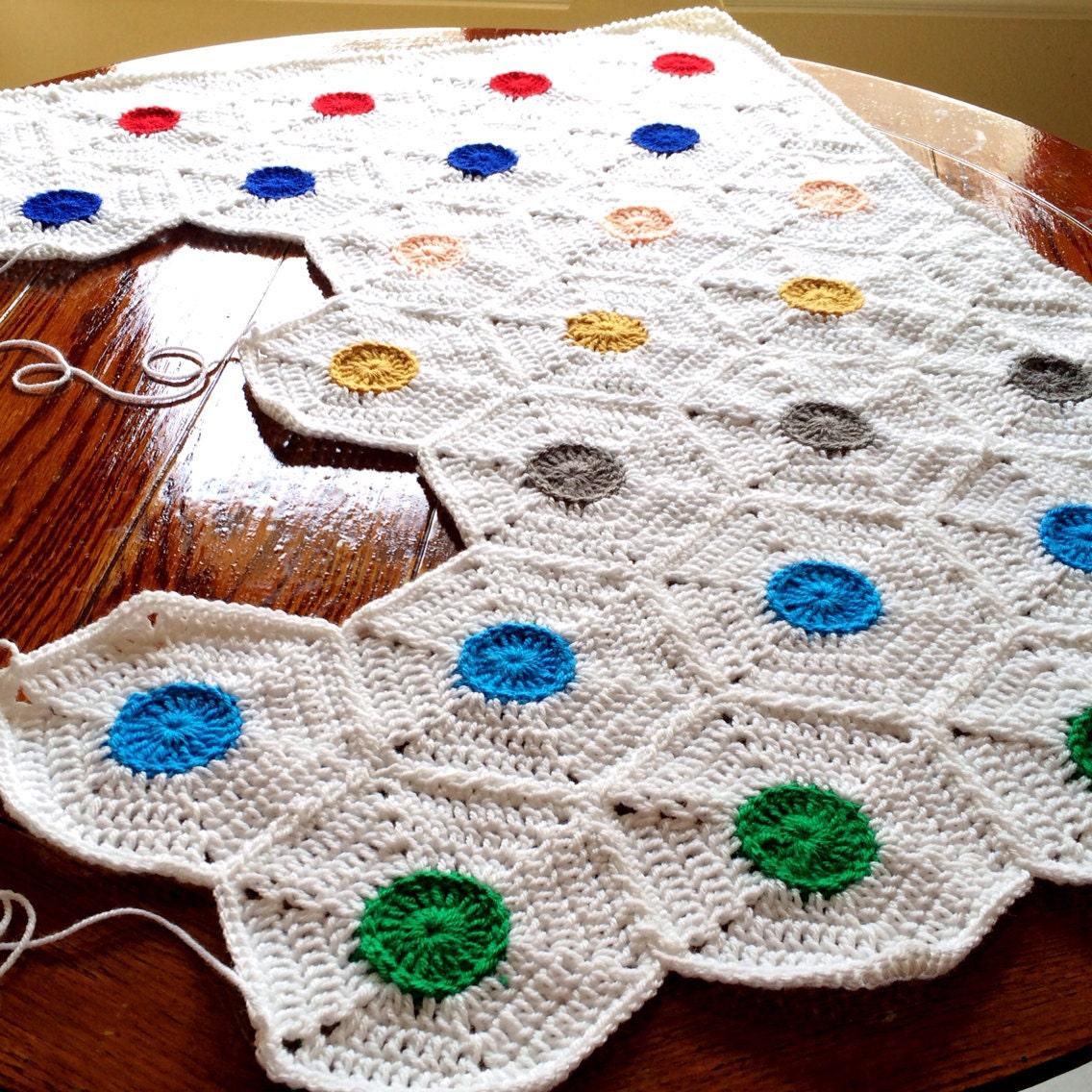 Patrón - BabyLove marca lunares Manta - Crochet patrón/Tutorial ...