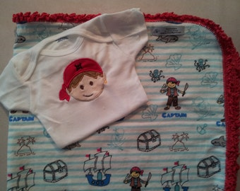 """Pirates - Blanket - 33"""" x 33"""" and Onesie . Hand Crocheted Edging. Ready to ship"""