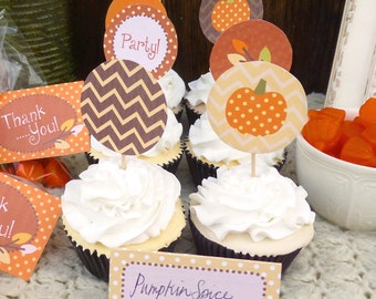 """Little Pumpkin Party Cupcake Toppers Printable: 2"""" Party Circles -- Autumn Party Decoration -- Baby Shower, Toddler Birthday, Fall Party"""