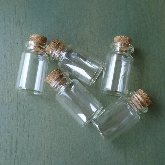 small glass bottles, Wicca, spell bottles, 5, miniature ...