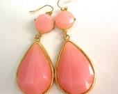 Salmon Pink Grapefruit and Gold Teardrop Long Dangle Earrings.  Bridesmaid Jewelry.