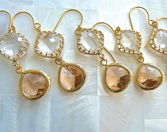 Champagne and Crystal Gold Dangle Drop Earrings.  Champagne Bridesmaids Jewelry.
