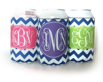 Cozie for 12oz can or bottle - Personalized with your name monogram or initials - Design your Own - Personalized Can Cozy - Can Hugger