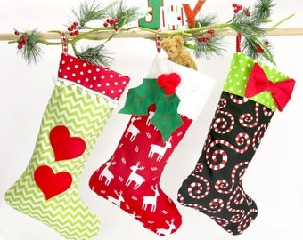 Christmas stocking pattern PDF, 4 sizes and applique templates included, small medium large stocking pattern, Christmas pattern, STOCKING