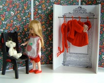 """Red & Black Flowery Dressing Room for 8"""" dolls such as Ginny, Betsy, Mme Alexander, Muffie"""