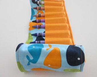 Whales Crayon Roll- Birthday Party Favor- Ready to Ship