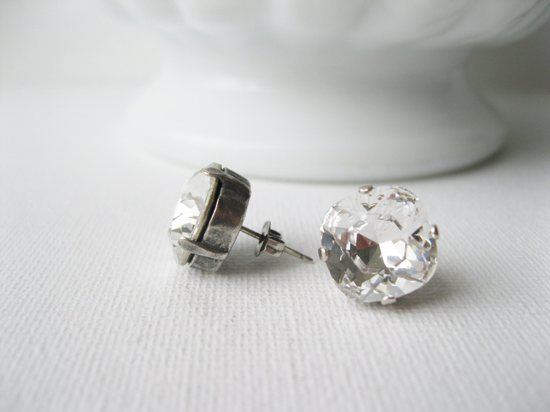 clear rhinestone post earrings wedding stud earrings
