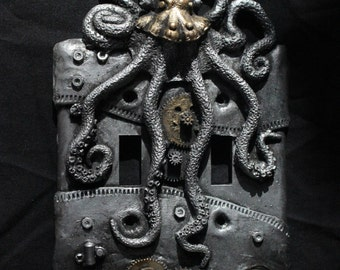 Steampunk Octopus double switch plate. Wall art, sculpture, wall decor, home decor, housewares.