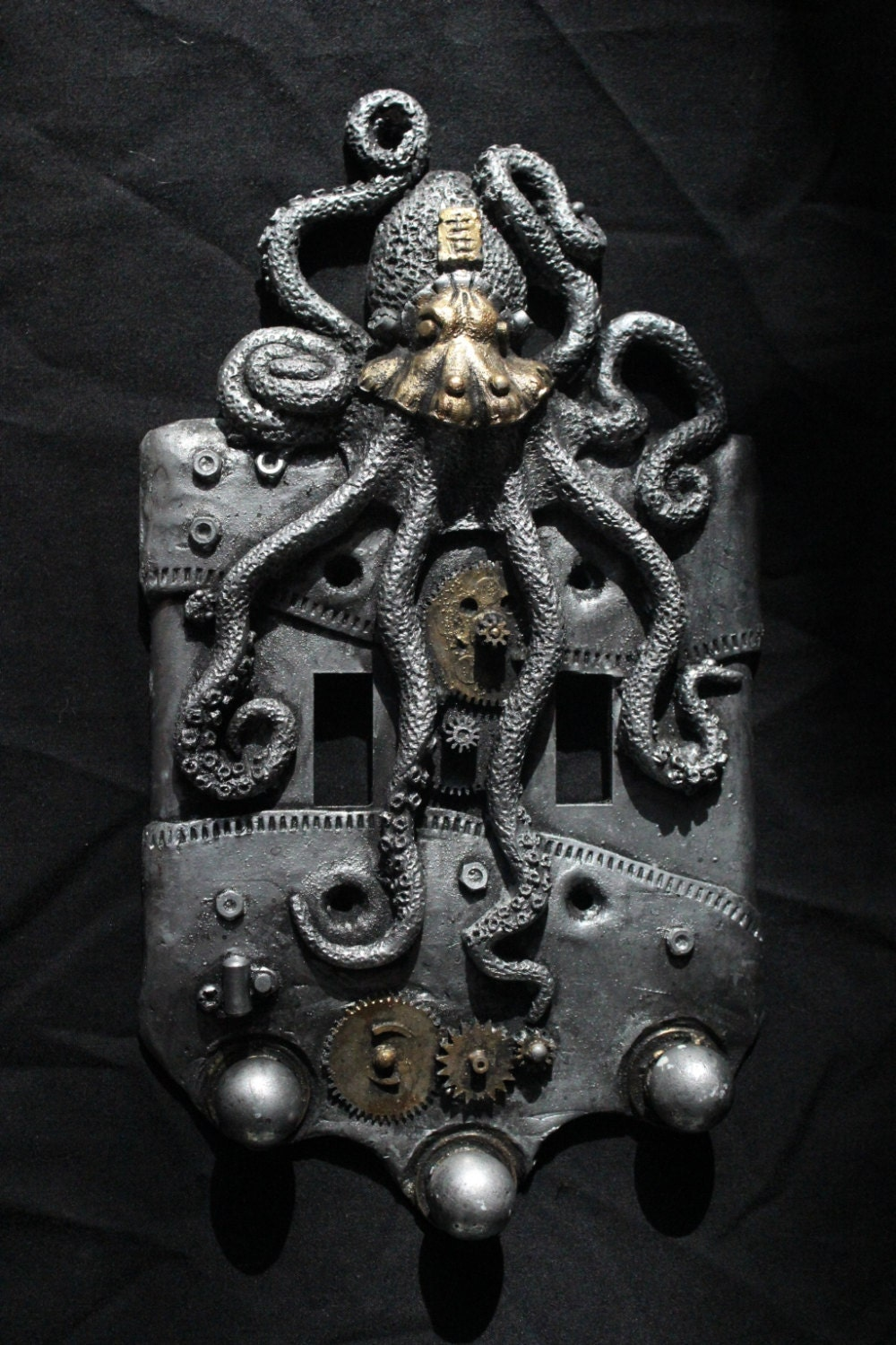 steampunk octopus double switch plate wall art sculpture. Black Bedroom Furniture Sets. Home Design Ideas
