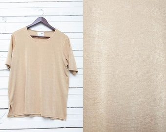 Vintage Nude Shiny Top / Simple Tan Sand Brown Golden Shimmering Loose Fit Blouse with Short Sleeves / Size L Large / Womens Summer Top