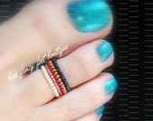 Stacking Toe Ring, Stacking Rings, Sapphire Toe Ring, Copper Toe Ring, Mauve Beads, Frosted Apricot Beads, Stretch Bead Toe Ring