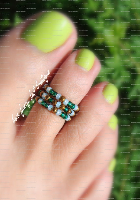 Stacking Toe Ring - Pine Green - Copper - Mint Green - Stretch Bead Toe Ring