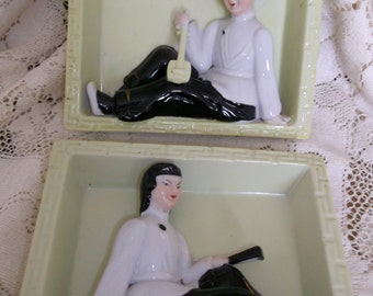 2 Asian Figurines in Window Box Settings Midcentury