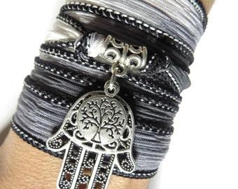 Bohemian Tree Of Life Silk Wrap Bracelet Hamsa Yoga Yewelry Namaste Spiritual Gray Silk Ribbon Bracelet Boho Chic Bracelet Mother's Day Gift