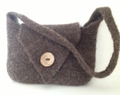 Brown Knitted & Felted Purse with Strap