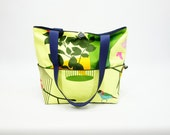 Womens handmade fabric handbags, yellow birds and denim purse, medium handbags, beach bags, YMF Handbags