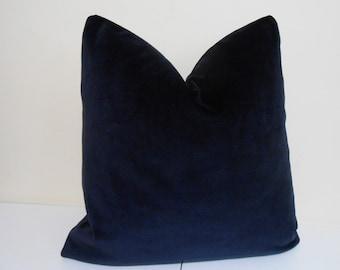 CUSTOM ORDER - Navy Blue Velvet Pillow Cover -J P Martin Velvet - Decorative throw pillow  -Blue Velvet Sofa Cushion- Euro Sham