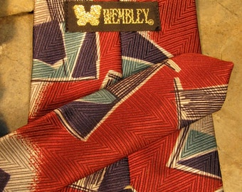 Vintage Abstract/Geometric Wembley Necktie- Red/Silver/Blues- 100% Polyester- WPL 4075- Made in the USA
