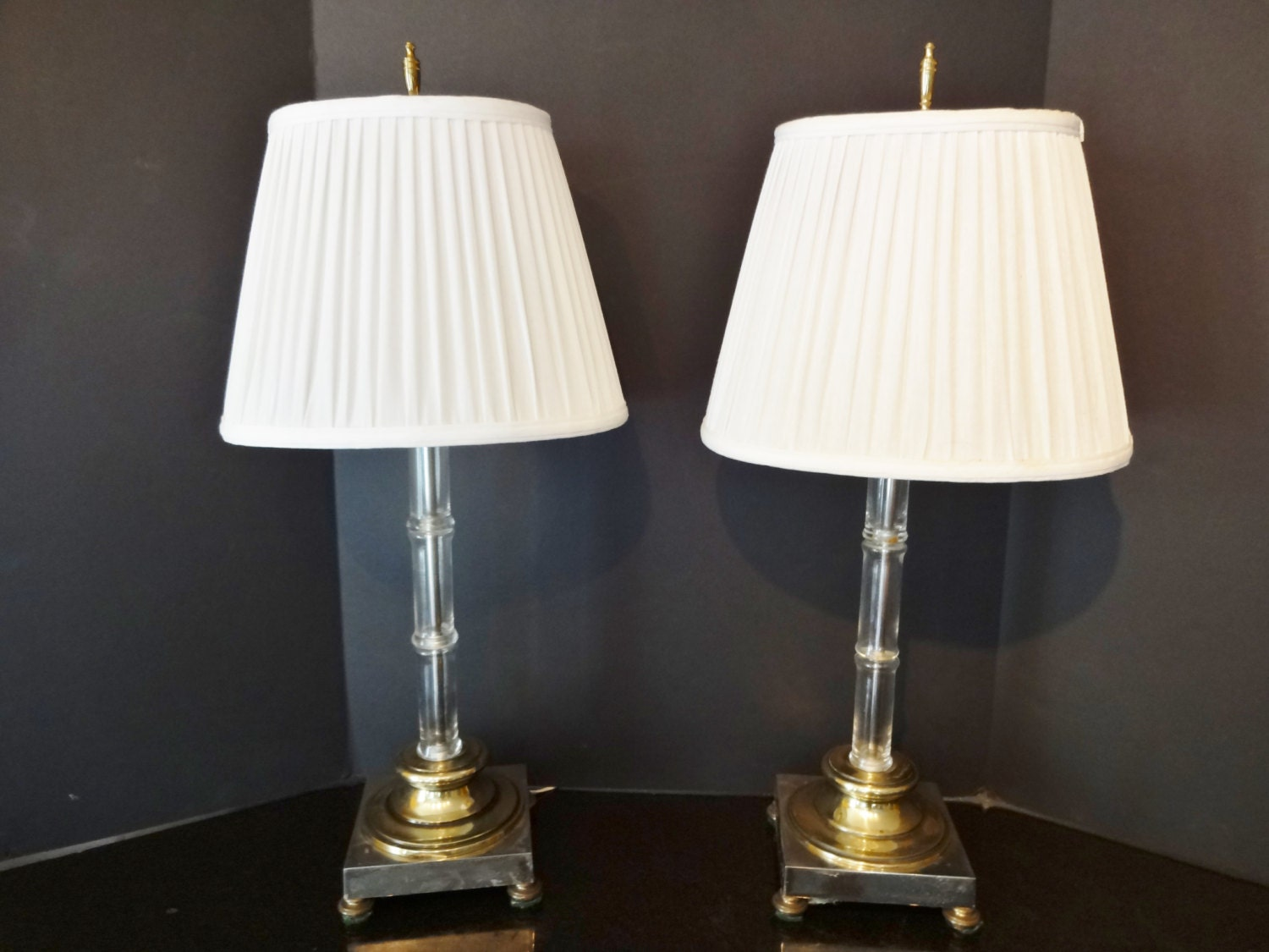 Vintage Crystal Bedroom Lamps With Pleated Oval Shades Set