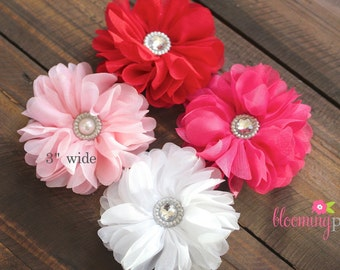 Valentines Day Chiffon Flower Clip