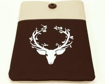 Deer iPad Air Sleeve , iPad Retina Case, Galaxy Tab Cover, Nexus 10 Sleeve , Deep Bown Deer , Tablet Sleeve, Brown iPad sleeve, iPad case